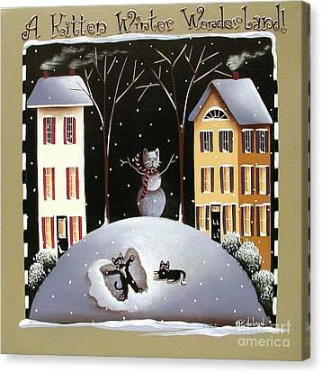 A Kitten Winter Wonderland Canvas Print by Catherine Holman