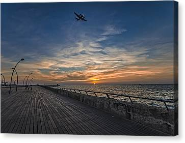 Canvas Print featuring the photograph a kodak moment at the Tel Aviv port by Ron Shoshani