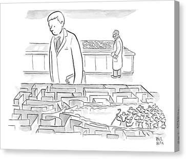 A Laboratory Scientist Looks On As The Walls Canvas Print by Paul Noth