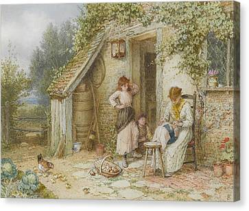 Ducklings Canvas Print - A Lacemaker by Myles Birket Foster
