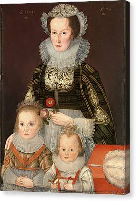 A Lady And Her Two Children Dated In Gold Paint Canvas Print by Litz Collection
