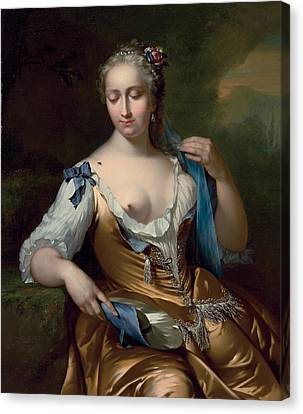 A Lady In A Landscape With A Fly On Her Shoulder Canvas Print by Frans van der Mijn