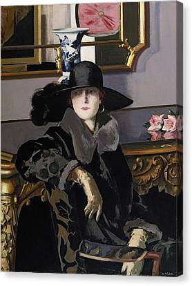 A Lady In Black Canvas Print by Francis Campbell Boileau Cadell