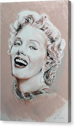 A Lady In Pink Canvas Print by Miguel Rodriguez
