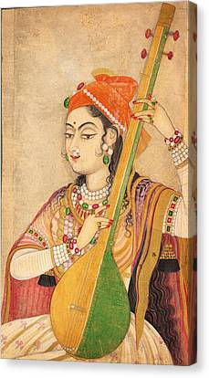 Jihad Canvas Print - A Lady Playing The Tanpura by Celestial Images