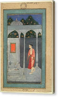 A Lady Visiting A Shrine Canvas Print by British Library