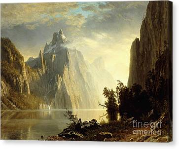 A Lake In The Sierra Nevada Canvas Print by Albert Bierstadt
