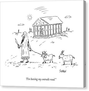 Reading Canvas Print - A Lamb Says To Another by David Sipress