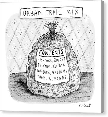 A Large Bag Is Centered In This Picture Canvas Print by Roz Chast