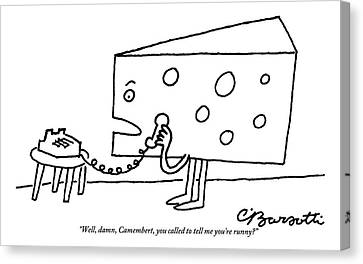 A Large Piece Of Swiss Cheese Talks Canvas Print by Charles Barsotti