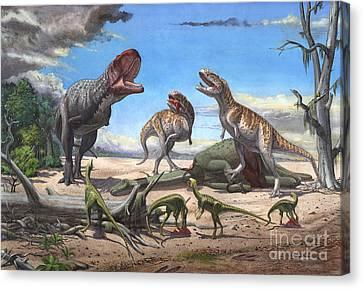 A Large Rajasaurus Roars In An Attempt Canvas Print by Sergey Krasovskiy