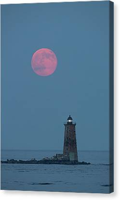 A Large Red Moon Over Whaleback Canvas Print