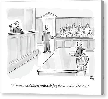 A Lawyer In Court Addresses The Jury Canvas Print by Paul Noth