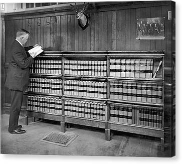 A Lawyer In His Library Canvas Print by Underwood Archives