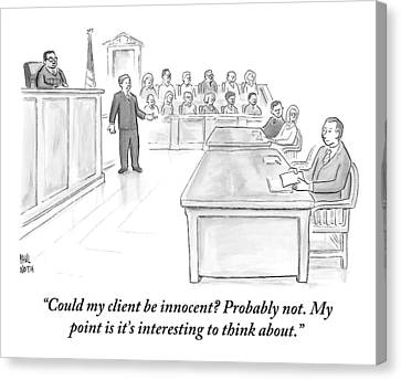 A Lawyer Makes His Case In Front Of A Jury Canvas Print by Paul Noth