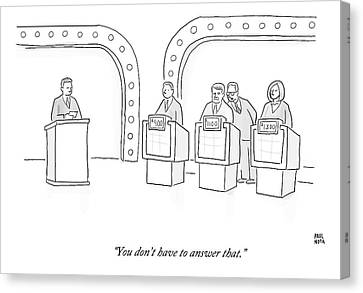 A Lawyer Says To A Contestant On A Game Show Canvas Print by Paul Noth