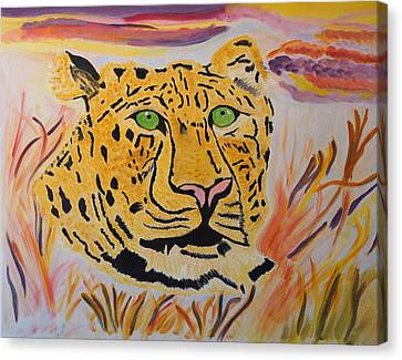 Canvas Print featuring the painting A Leopard's Gaze by Meryl Goudey