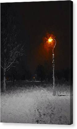 A Light In A Cold Winters Night Canvas Print by Steve K