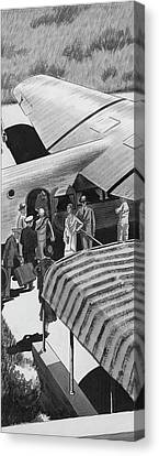 Passenger Plane Canvas Print - A Lindbergh Airplane In The Arizona Desert by Lemon