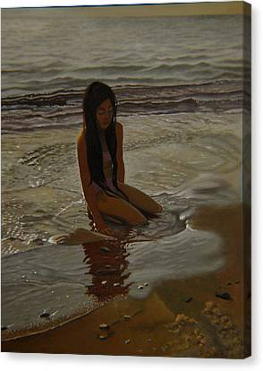 A Line Between Ocean And Sand Canvas Print by Thu Nguyen