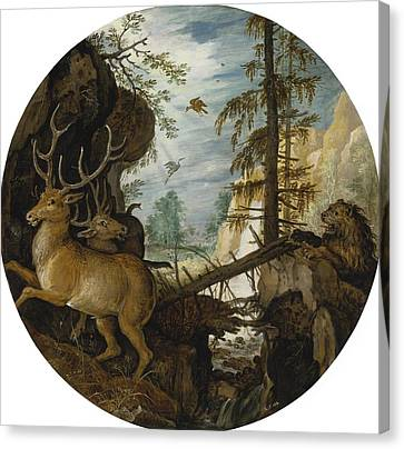 A Lion Hunting Two Deer Canvas Print by Celestial Images