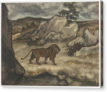A Lion Striding In A Landscape Canvas Print by Celestial Images