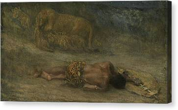 A Lioness With Her Cubs At A Dead Black Man Named Nemesis Canvas Print by Litz Collection