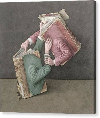 A Literary Struggle Canvas Print by Jonathan Wolstenholme