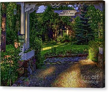 A Little Cottage In The Woods Canvas Print by Nancy Marie Ricketts