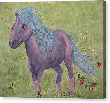 Canvas Print featuring the painting A Little Girls Imagination Pony by Kelly Mills