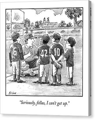 A Little-league Baseball Coach Crouches To Talk Canvas Print by Harry Bliss