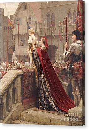 A Little Prince Likely In Time To Bless A Royal Throne Canvas Print by Edmund Blair Leighton