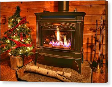 A Log Cabin Christmas Canvas Print by Heather Allen