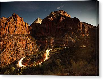 A Long Exposure Of Cars Driving Canvas Print by Ben Horton