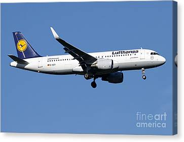 A Lufthansa Airbus A320-200 Sharklet Canvas Print by Luca Nicolotti