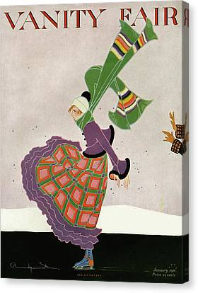 Skating Canvas Print - A Magazine Cover For Vanity Fair Of A Woman by Ethel Rundquist