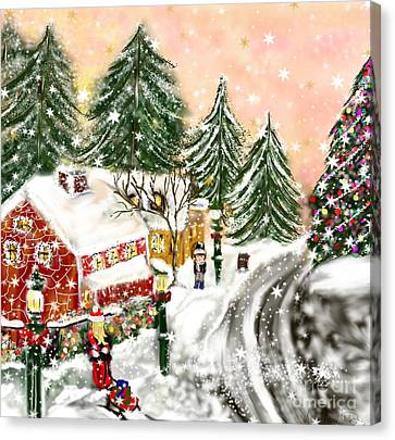 Canvas Print featuring the painting A Magical Frost by Lori  Lovetere
