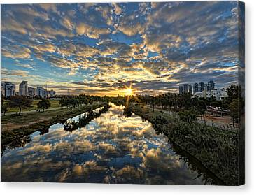 Canvas Print featuring the photograph A Magical Marshmallow Sunrise  by Ron Shoshani