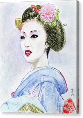 Canvas Print featuring the drawing A Maiko  Girl by Yoshiko Mishina