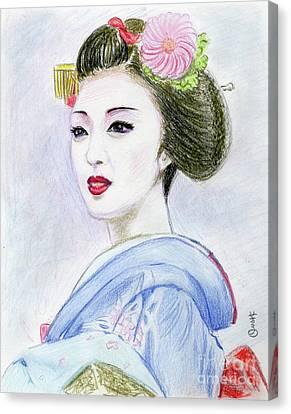 A Maiko  Girl Canvas Print by Yoshiko Mishina