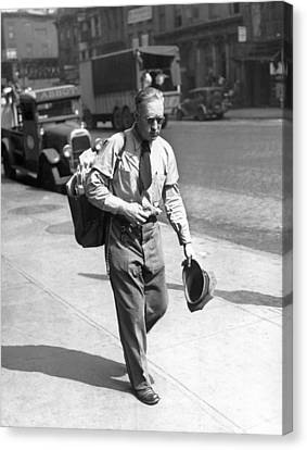 Senior Walk Canvas Print - A  Mailman In The Heat by Underwood Archives