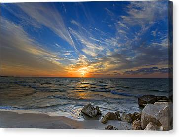 Canvas Print featuring the photograph A Majestic Sunset At The Port by Ron Shoshani