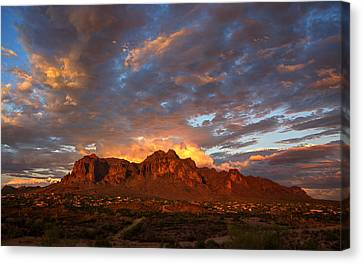 A Majestic Sunset At The Superstitions Canvas Print