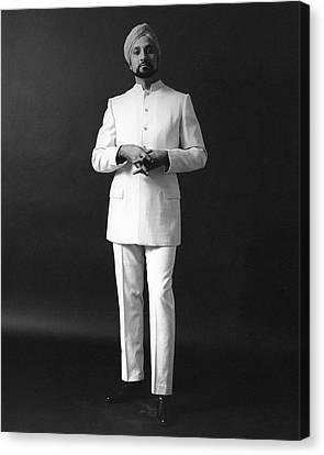 A Male Model Wearing A Custom-tailored Gaberdine Canvas Print