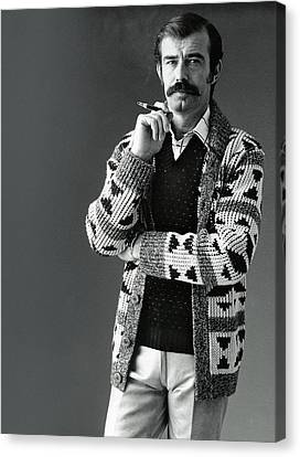 A Male Model Wearing An Aztec-motif Cardigan Canvas Print