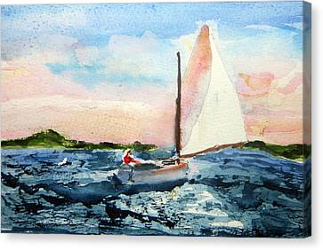 Canvas Print featuring the painting A Man And His Boat by Michael Helfen