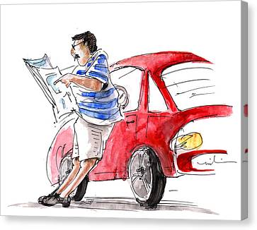 A Man And His Car And His Newspaper Canvas Print by Miki De Goodaboom