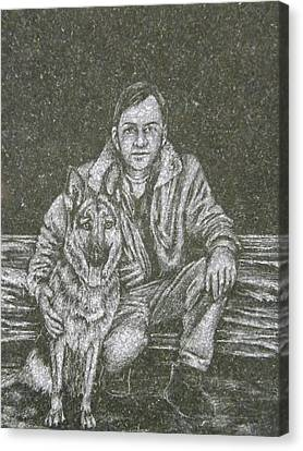 A Man And His Dog Canvas Print by Dennis Pintoski