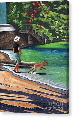 Canvas Print featuring the painting A Man And His Dog by Laura Forde