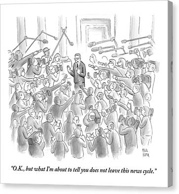 A Man Answers Questions At A Press Conference Canvas Print by Paul Noth